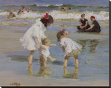 Children Playing at the Seashore Stretched Canvas Print by Edward Henry Potthast