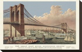 The Great East River Suspension Bridge, 1877 Stretched Canvas Print