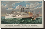 "The Grand New Steamboat ""Pilgrim"", c. 1883 Stretched Canvas Print by  Currier & Ives"