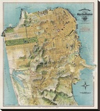 Map of San Francisco, California, 1912 Stretched Canvas Print by August Chevalier
