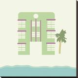 South Beach - Green Reproduction transférée sur toile par Carly Lawrence