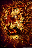 Fire Tiger by Tom Wood Poster Posters