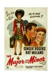 THE MAJOR AND THE MINOR, Ray Milland, Ginger Rogers, 1942 Art