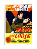 FAST AND LOOSE, from left: Robert Montgomery, Rosalind Russell on midget window card, 1939 Prints