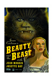 BEAUTY AND THE BEAST, US poster, from top: Jean Marais, Josette Day, 1946 Affischer