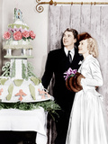 From left: Ronald Reagan and Jane Wyman admire the cake at their wedding reception, 1940 Prints