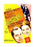 TROUBLE FOR TWO, US poster art, from left: Robert Montgomery, Rosalind Russell, 1936 Print