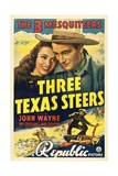 THREE TEXAS STEERS, top from left: Carole Landis, John Wayne, 1939. Posters