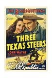 THREE TEXAS STEERS, top from left: Carole Landis, John Wayne, 1939. Posters