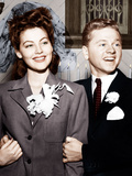 From left: Ava Gardner and Mickey Rooney after their wedding, January, 1942 Prints