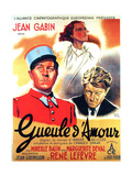 GUEULE D'AMOUR, French poster art, from left: Jean Gabin, Mireille Balin, Jean Gabin, 1937 Posters