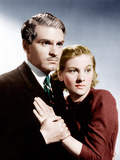 REBECCA, from left: Laurence Olivier, Joan Fontaine, 1940 Photo