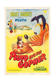 PLUTO AND THE GOPHER, rear: Minnie Mouse, foreground, Pluto on poster art, 1950. Print