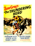 THE THUNDERING HERD, from left: Judith Allen, Randolph Scott on midget window card, 1933. Print
