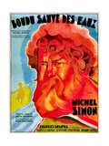 Boudu Saved From Drowning, (aka Boudu Sauve des Eaux), Michel Simon, French poster art, 1932 Prints
