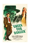 GREEN FOR DANGER, l-r: Alastair Sim, Sally Gray on US poster art, 1946. Posters
