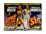 ONE MILLION YEARS B.C., 1966, SHE, 1965, from left: Raquel Welch, Ursula Andress, US lobbycard Umění