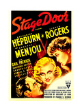 STAGE DOOR, from left: Adolphe Menjou, Ginger Rogers, Katharine Hepburn on midget window card, 1937 Prints