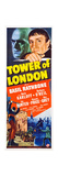 TOWER OF LONDON, top l-r: Boris Karloff, Basil Rathbone on insert poster, 1939. Posters