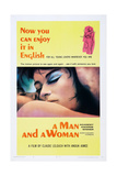 A MAN AND A WOMAN, US poster, Jean-Louis Trintignant, Anouk Aimee, 1968 Posters