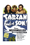 TARZAN FINDS A SON!, Maureen O'Sullivan, John Sheffield, Johnny Weissmuller, 1939. Print