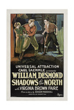 SHADOWS OF THE NORTH, left to right: Virginia Brown Faire, Fred Kohler, William Desmond, 1923. Prints