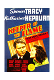 KEEPER OF THE FLAME, from left: Spencer Tracy, Katharine Hepburn on midget window card, 1942. Prints
