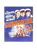 SUBMARINE D-1, Wayne Morris, Pat O'Brien, George Brent on window card, 1937 Posters