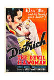 THE DEVIL IS A WOMAN, from left: Cesar Romero, Marlene Dietrich, 1935 Plakat