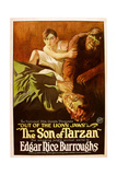 THE SON OF TARZAN, center top: Gordon Griffith in 'Episode 2: Out of the Lion's Jaws', 1920. Art