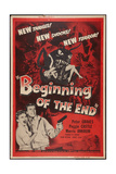 BEGINNING OF THE END, l-r: Peggie Castle, Peter Graves on poster art, 1957. Plakater