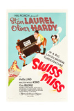Swiss Miss, Stan Laurel, Oliver Hardy on US poster art, 1938 Print