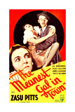 THE MEANEST GAL IN TOWN, from left: Zasu Pitts, James Gleason on midget window card, 1934 Prints