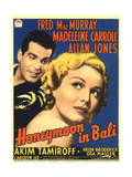 HONEYMOON IN BALI, from left: Fred MacMurray, Madeleine Carroll on midget window card, 1939. Posters