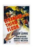 STRANGER ON THE THIRD FLOOR, top left: Peter Lorre, lower right: John McGuire, 1940 Art