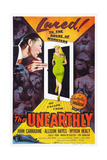 THE UNEARTHLY, top left: John Carradine, center: Allison Hayes, bottom right: Tor Johnson, 1957. Posters