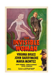 THE INVISIBLE WOMAN, top: John Barrymore, bottom: John Howard on poster art, 1940. Prints