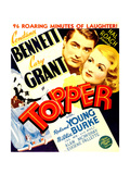 TOPPER, from left: Cary Grant, Constance Bennett on window card, 1937 Print