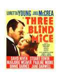 THREE BLIND MICE, from left: Joel McCrea, Loretta Young on window card, 1938 Print