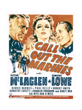 CALL OUT THE MARINES, from left: Victor McLaglen, Binnie Barnes, Edmund Lowe on window card, 1942. Posters