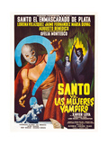 SANTO VS. LAS MUJERES VAMPIRO, left: Santo on Spanish poster art, 1962. Posters