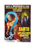 Santo vs. Las Mujeres Vampiro, Spanish poster art, 1962 Posters