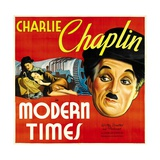 Modern Times, Charlie Chaplin, Paulette Goddard, 1936 Affiche