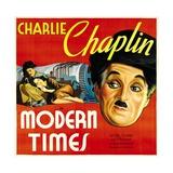 MODERN TIMES, from left: Charlie Chaplin, Paulette Goddard, Charlie Chaplin, 1936. Affiche