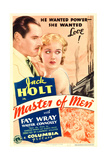 MASTER OF MEN, from left: Jack Holt, Fay Wray on midget window card, 1933. Prints
