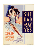 SHE HAD TO SAY YES, left from top: Lyle Talbot, Loretta Young on midget window card, 1933. Prints