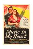 MUSIC IN MY HEART, l-r: Tony Martin, Rita Hayworth on poster art, 1940 Posters