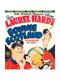 BONNIE SCOTLAND, Oliver Hardy, June Lang, Stan Laurel on window card, 1935 Art