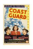 COAST GUARD, from left: Randolph Scott, Frances Dee, Ralph Bellamy on midget window card, 1939. Posters