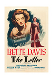 THE LETTER, Bette Davis on midget window card (artwork also used on 1-sheet poster), 1940 Posters